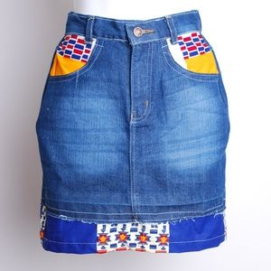 jeans skirt with african print insert